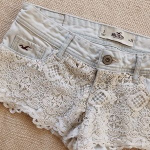 Hollister Lace & Light Blue Jean Shorts